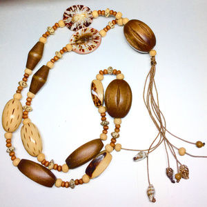 """""""Nature"""" Artisan Necklace with wood beads & shells"""
